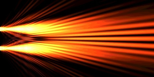 The interference pattern produced by a double-slit experiment.