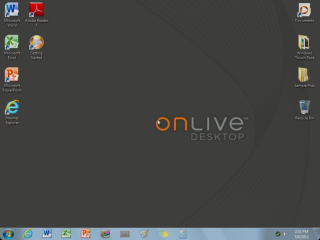 OnLive's hosted Windows 7 desktop running on an iPad