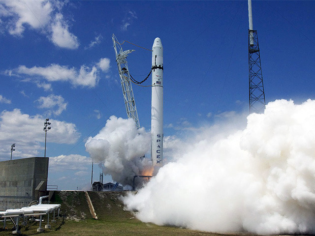 The launch of a SpaceX Falcon 9.