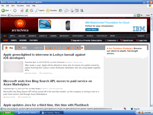 Internet Explorer 6 loading the Ars homepage: A swing and a miss.
