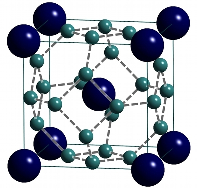 Crystal structure of clathrate calcium hydride. The smaller spheres are hydrogen, which surround the central calcium atom like a cage.