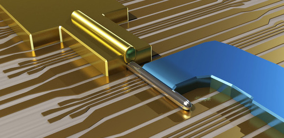 A nanowire (silver color) is attached to a gold electrode and rests against a superconductor (blue). The combination produces quasiparticles that may be Majorana fermions.