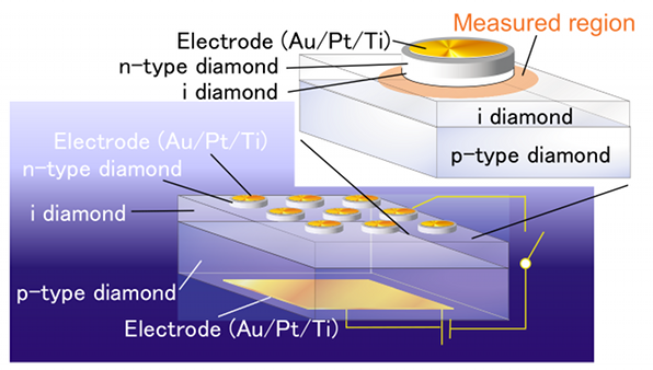 Diamond semiconductor device capable of emitting single photons at room temperature.