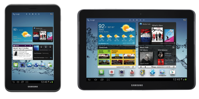 The Galaxy Tab 2 7.0, left, and Galaxy Tab 2 10.1, right (not to relative scale)
