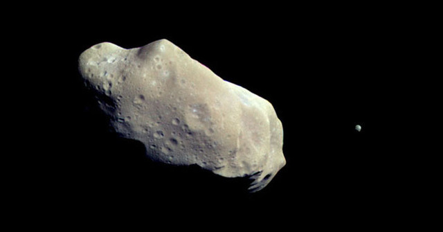 Even the small moon of asteroid Ida (right) is larger than the body we might direct to Earth.