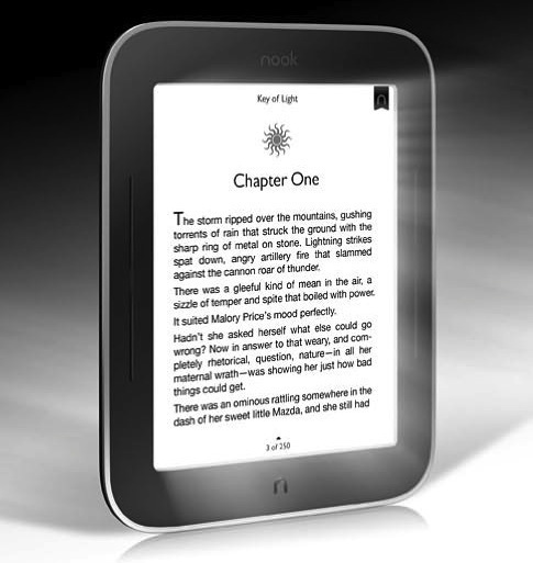 The new Nook SimpleTouch with Glow Light, text bathed in an LED halo.