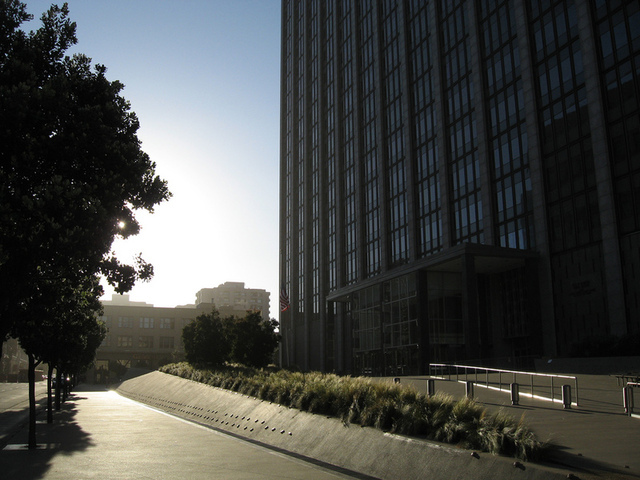 The Phillip Burton Federal Building where the trial is taking place