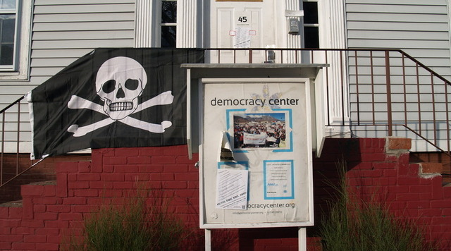 A Pirate flag hangs at Cambridge's Democracy Center, site of the Massachusetts Pirate Party conference