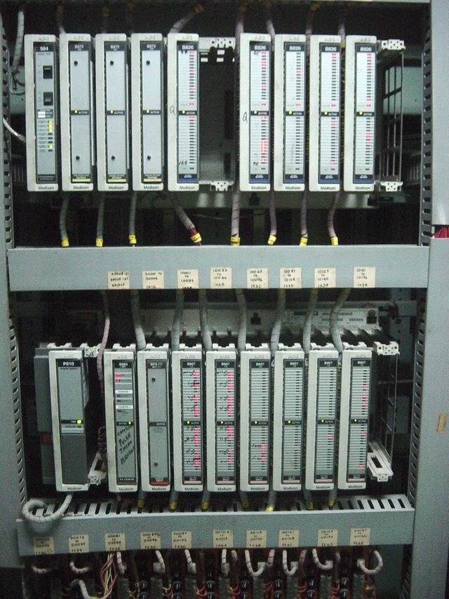 Programmable logic controllers like these are used to operate machinery used in refineries and other critical infrastructure. Despite their sensitity, manufacturers often decline to fix software flaws that could allow the devices to be remotely hijacked.