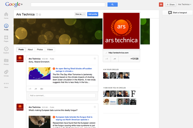 The Ars Technica Google+ page viewed in the new updated design