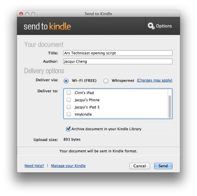 """Amazon releases """"Send to Kindle"""" desktop software for the"""