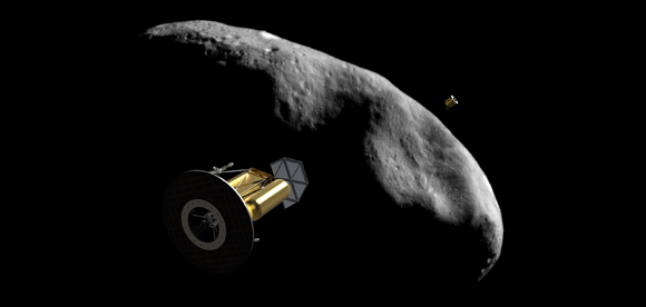 Arkyd 300 series spacecraft investigates an asteroid