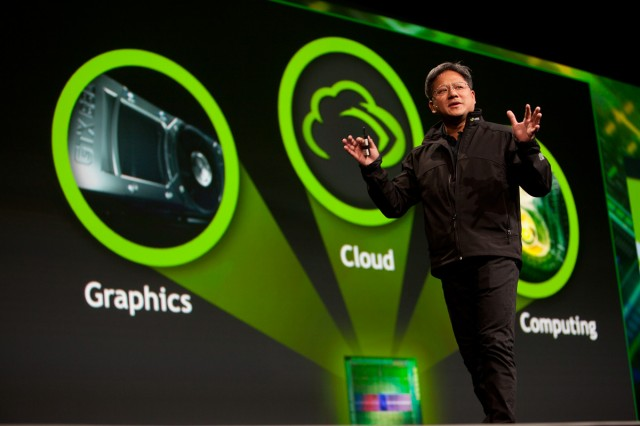 NVIDIA CEO Jen-Hsun Huang unveiling next-generation GPUs.