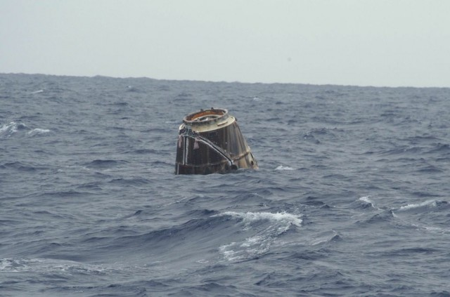 Dragon awaiting pickup by the SpaceX barge