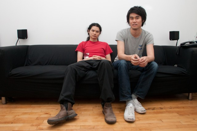 Jonathan Mak (left) and Shaw-Han Liem (right) in the office of Capybara Games, where some of Sound Shapes' part-time developers work.