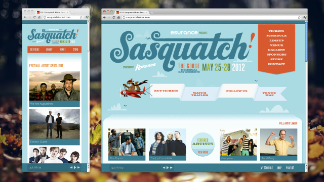 The website for Washington's Sasquatch Music Festival responds automatically to the width of the browser's window.