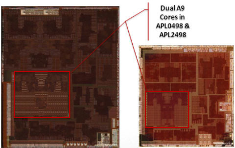 45nm process A5 die (left) compared to 32nm process A5 die (right).