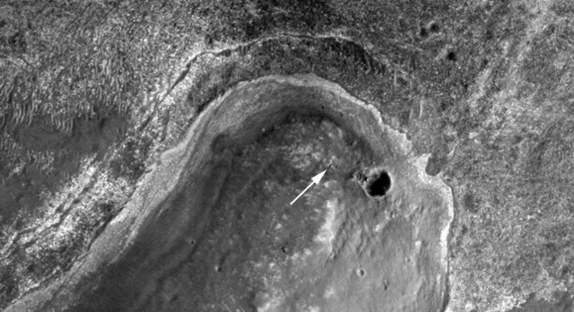 The Opportunity rover at Chester Lake, as seen by the HiRISE Mars orbiter. (North is at the bottom of this image.)