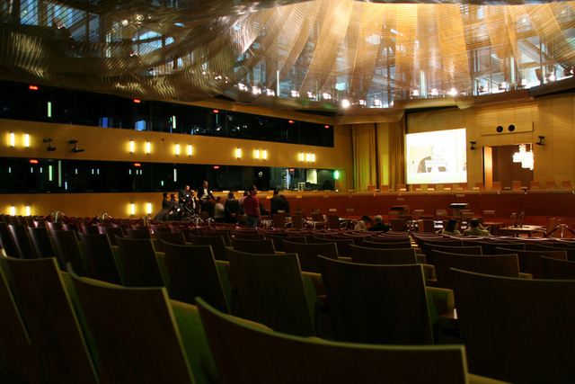 Grand courtroom in the European Court of Justice.
