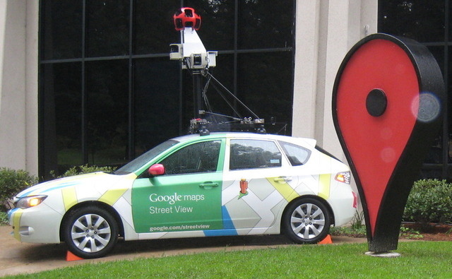 A Google Street View car on display
