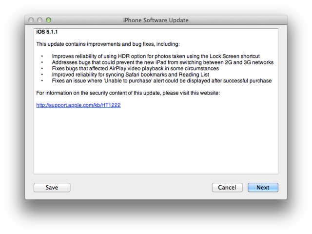 iOS 5.1.1 patches URL spoofing flaw, two other security vulnerabilities