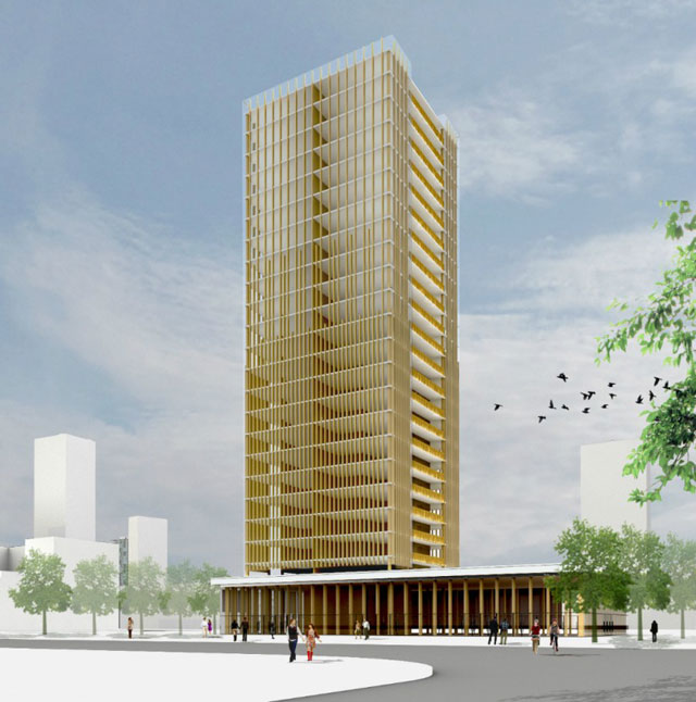 Rendering of a 30-story wood skyscraper