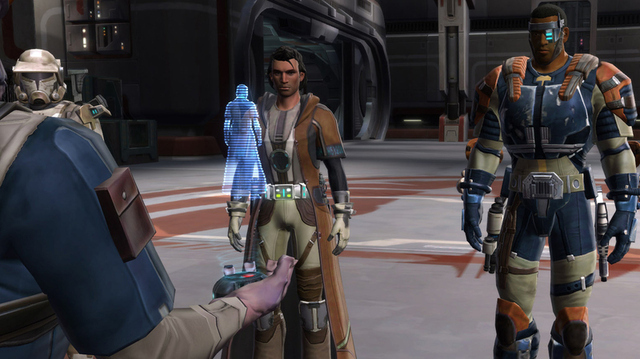 A group of <i>Old Republic</i> players bid farewell to a cancelled subscriber, shown in the form of a hologram.