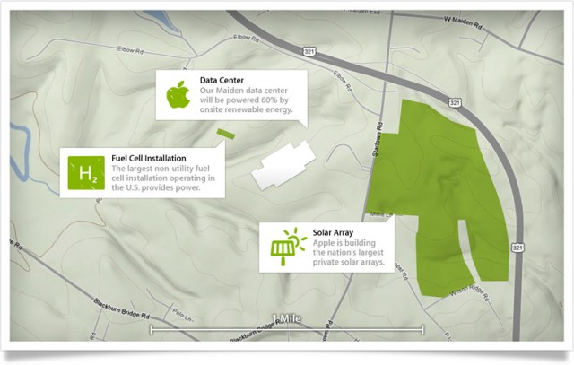 Apple's Maiden, North Carolina data center will be largely powered by Apple's own solar panel arrays and methane-powered fuel cells.