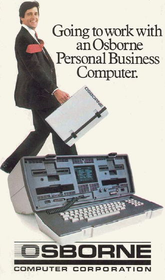 Advertisers tried to make lugging an Osborne 1 micro-computer look easy.