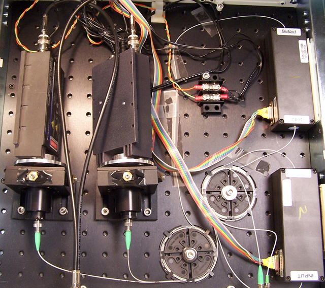 Part of a working quantum key distribution system.