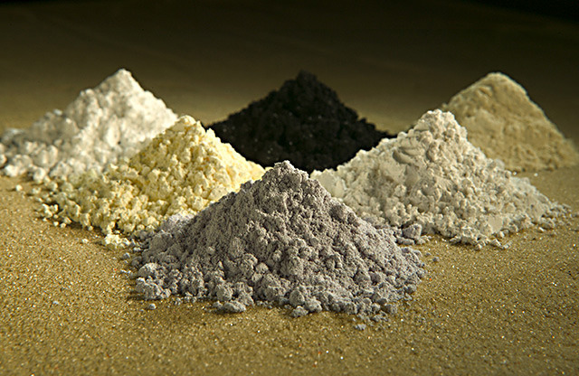 Rare earth oxides. Clockwise from top center: praseodymium, cerium, lanthanum, neodymium, samarium, and gadolinium.