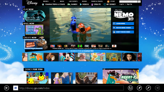 The Flash-driven Disney.com in Metro-style Internet Explorer 10.