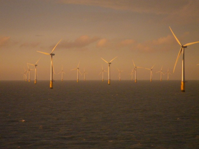 The Thanet Wind Farm 7 miles off the coast of Kent, UK.