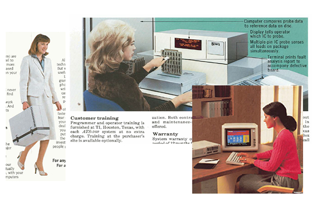 From left: Carrying an Osborne 1; running a Texas Instruments ATS-960; setting up a spreadsheet on an IBM PCjr
