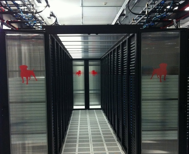 Server racks in one of Zynga's new data centers