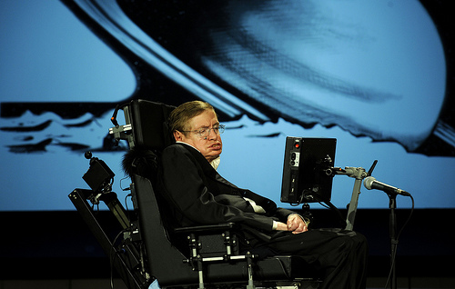 Stephen Hawking at a NASA fiftieth anniversary event in 2008.