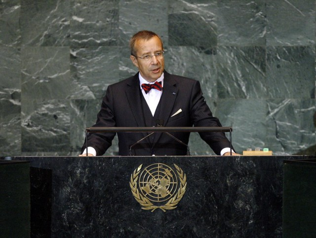 Estonian President Toomas Hendrik Ilves addressing the United Nations in 2009