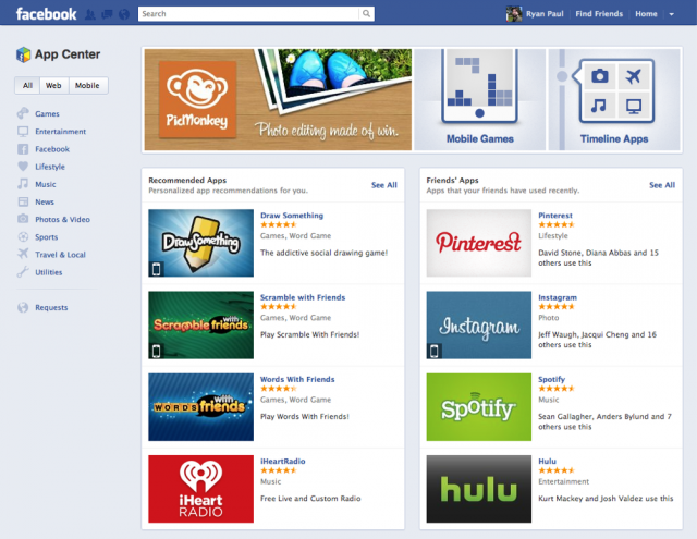 The main landing page of the Facebook App Center