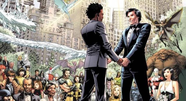 Marvel's Northstar (right) with his husband Kyle at their super hero-attended wedding.