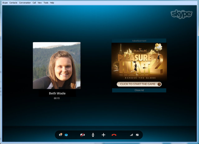 Can you spot the ad in this Skype call? Hint: it's the giant thing on the right.
