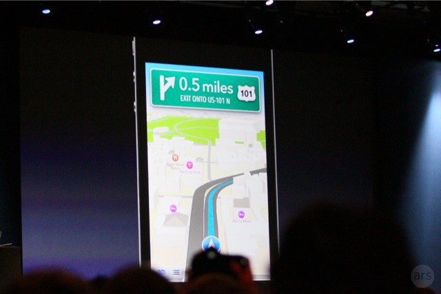 Apple demonstrated turn-by-turn navigation in its iOS 6 version of Maps at WWDC 2012.