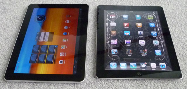 A Samsung Galaxy Tab 10.1 (left) and Apple iPad 2 (right)