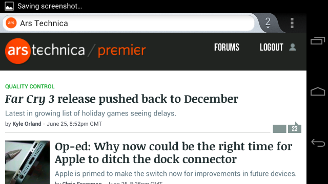 Browsing Ars Technica in Firefox for Android