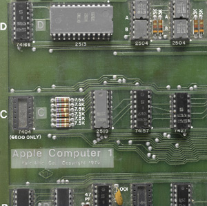 The exposed Apple 1 motherboard sold today.