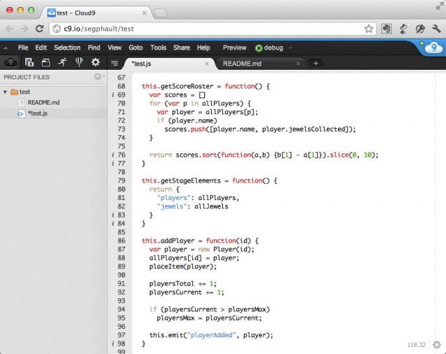 Editing JavaScript in the Cloud 9 IDE.