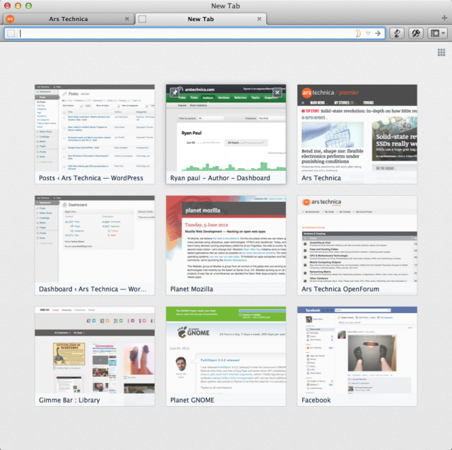 The updated new tab page in Firefox 13