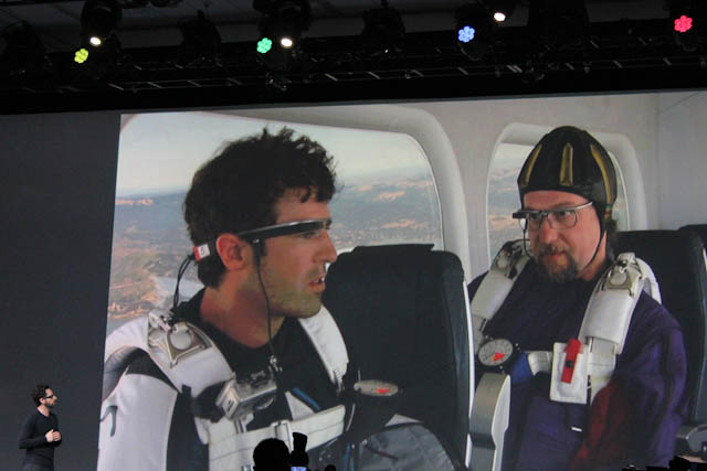 Google Glass-wearing skydiver prepares to jump out of a blimp during the Google I/O 2012 keynote.