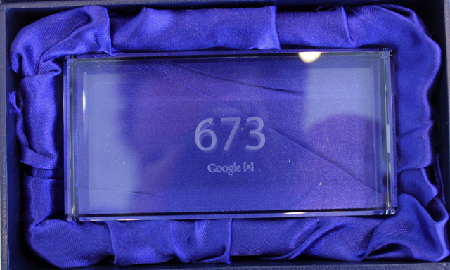This commemorative glass brick is engraved with the number of my Google Glass Explorer Edition preorder unit.