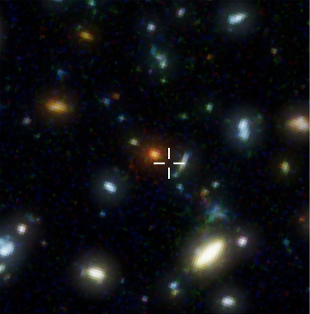 The Hubble Deep Field, with the location of galaxy HDF 805.1 marked. This galaxy, completely invisible in visible light, formed 1.1 billion years after the Big Bang.