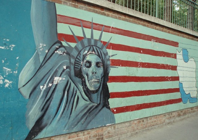 The new account is unlikely to alter Iran's view of the US, seen here in a mural on the old US embassy in Tehran